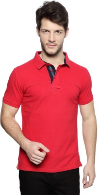 Van Heusen Solid Men's Polo Neck Pink T-Shirt