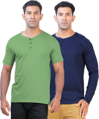 Click Hit Solid Men's Henley Green, Blue T-Shirt