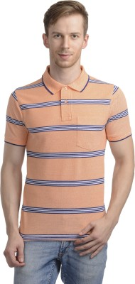WRIG Striped Men's Polo Neck Orange T-Shirt