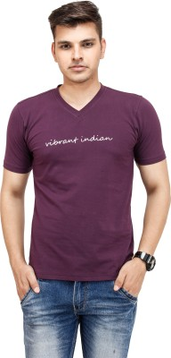Yuvi Solid Men's V-neck Purple T-Shirt