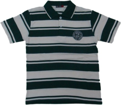 Miracle Striped Men's Polo Neck Green T-Shirt