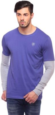 Blue Monkey Solid Men's Round Neck Blue T-Shirt