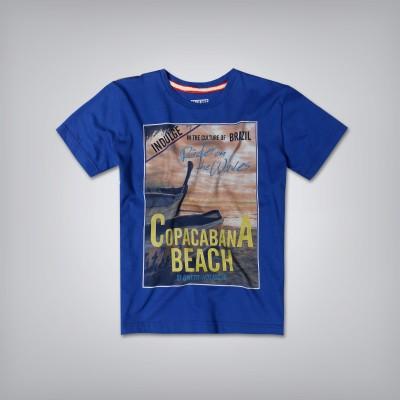 GJ Jeans Unltd Printed Boy's Round Neck Blue T-Shirt