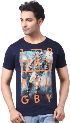 Motiv8Jeans Geometric Print, Graphic Print Men's Round Neck Dark Blue T-Shirt