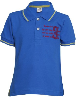 Tales & Stories Solid Boy's Polo Neck Blue T-Shirt