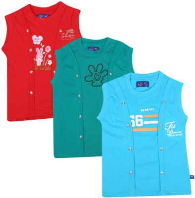 SPN Garments Printed Girl,s Round Neck Red, Green, Blue T-Shirt