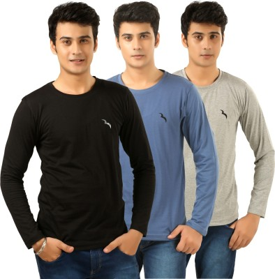 BrownBird Solid Men's Round Neck Black, Grey, Blue T-Shirt