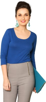 Miss Chase Solid Women's Round Neck Blue T-Shirt at flipkart