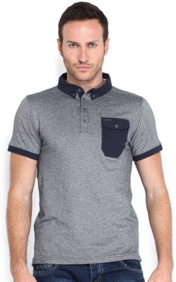 883 Police Solid Men's Polo Neck Blue T-Shirt