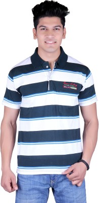 Update Solid, Striped Men's Polo Neck Grey T-Shirt