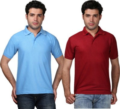 Tageuro Solid Men's Polo Neck Light Blue, Maroon T-Shirt
