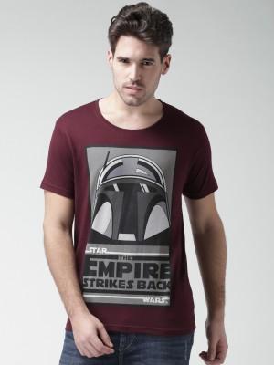 Moda Rapido Printed Men,s Round Neck Maroon T-Shirt