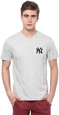 Cool Club Solid Men's V-neck Grey T-Shirt