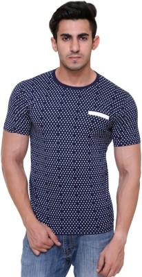 FREE RUNNER Printed Men's Round Neck Dark Blue T-Shirt