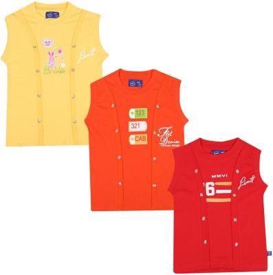 SPN Garments Printed Girl,s Round Neck Yellow, Orange, Red T-Shirt