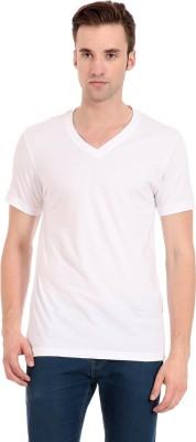 Zeug Solid Men's V-neck White T-Shirt