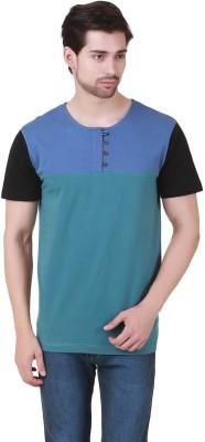 Cherymoya Self Design Men's Henley Blue T-Shirt