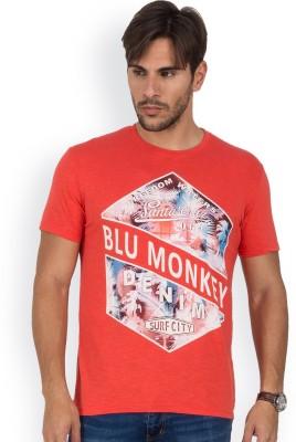 Blue Monkey Printed Men's Round Neck Orange T-Shirt