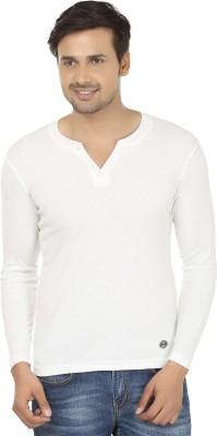 Fashcom Solid Men's Henley White T-Shirt