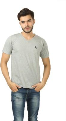 BrownBird Solid Men's V-neck Grey T-Shirt