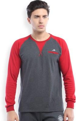 2go Solid Men's Round Neck Grey, Red T-Shirt