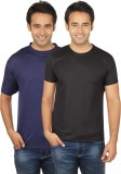 Quetzal Solid Men's Round Neck Blue, Bla...