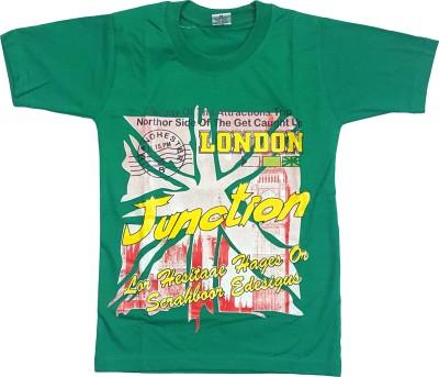 Groverz Printed Boy's Round Neck Green T-Shirt