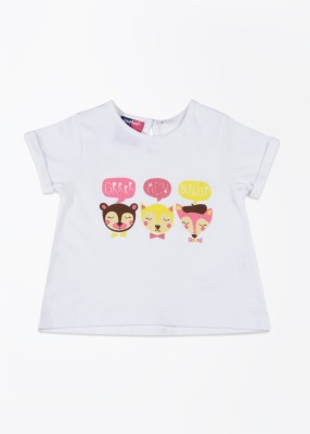 Nauti Nati Printed Girl's Round Neck White T-Shirt