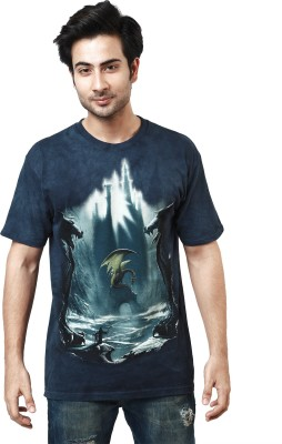 The Mountain Printed Men's Round Neck Dark Blue T-Shirt
