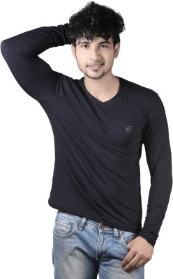 Spur Solid Men's V-neck Black T-Shirt