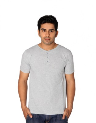 Style Connect Solid Men's Henley Grey T-Shirt