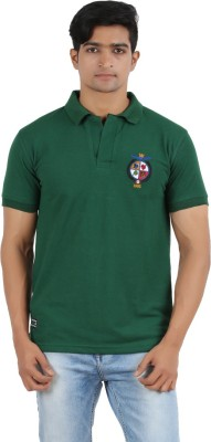 R - Cross Solid Men's Polo Neck Green T-Shirt