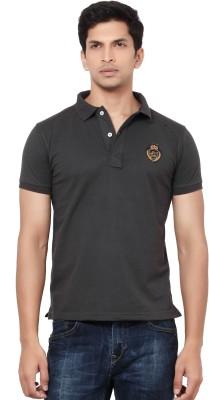LA Seven Solid Men's Polo Neck Brown T-Shirt