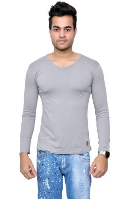 Style In Solid Men's Scoop Neck Grey T-Shirt
