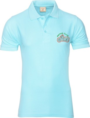 Libra Fashions Solid Men's Polo Neck Light Blue T-Shirt