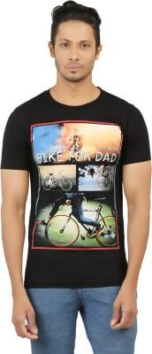LEVELS Printed Men,s Round Neck Black T-Shirt