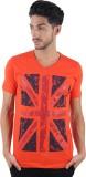 Burdy Printed Men's V-neck Orange T-Shir...