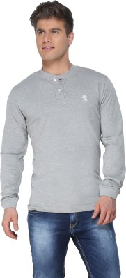 The Cotton Company Solid Men's Henley Grey T-Shirt
