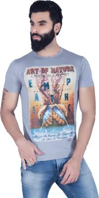 LAWMAN Printed Men's Round Neck Grey T-Shirt