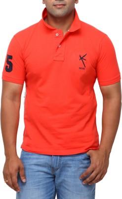 Yross Solid Men's Polo Neck Orange T-Shirt