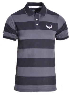 Avenster Sport Striped Men's Polo Neck Black, Grey T-Shirt