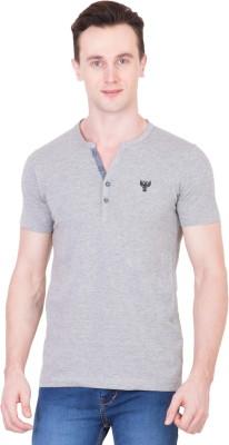 Ganzm Solid Men's Henley Grey T-Shirt
