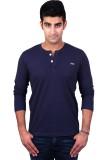 Bridge Solid Men's Henley Blue T-Shirt