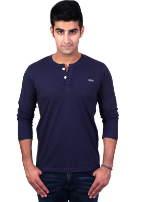 Bridge Solid Men's Henley Blue T-Shirt