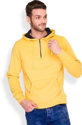 Parx Solid Men's Hooded Yellow T-Shirt