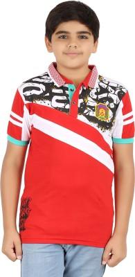 Libra Fashions Printed Boy's Polo Neck Red T-Shirt