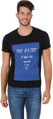 Cherymoya Printed Men's Round Neck Black T-Shirt