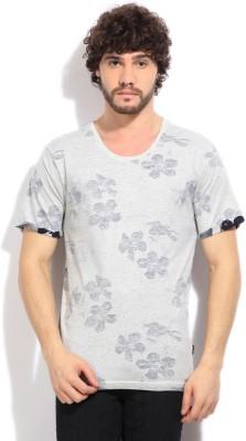 Indicode Printed Men's Round Neck Grey T-Shirt