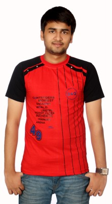 AADUKI Striped Men's Round Neck Red T-Shirt