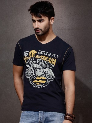 Roadster Printed Men's V-neck Dark Blue T-Shirt
